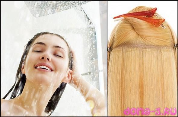 Правила очищения нарощенных волос